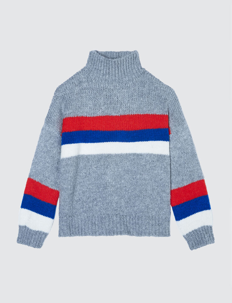 Pull col montant rayure sport
