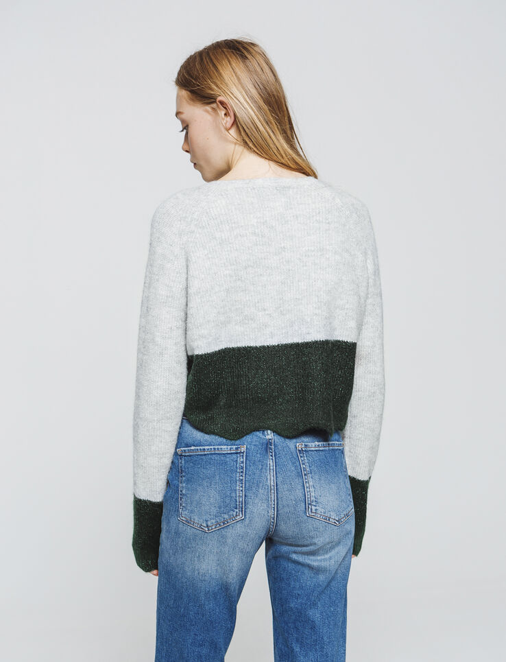 Pull cropped bicolore