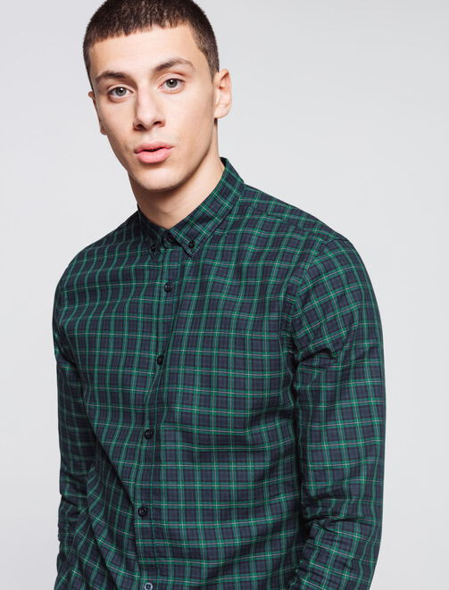 Chemise à carreaux preppy homme