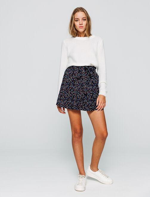 jupe imprimée taille haute ceinturée femme
