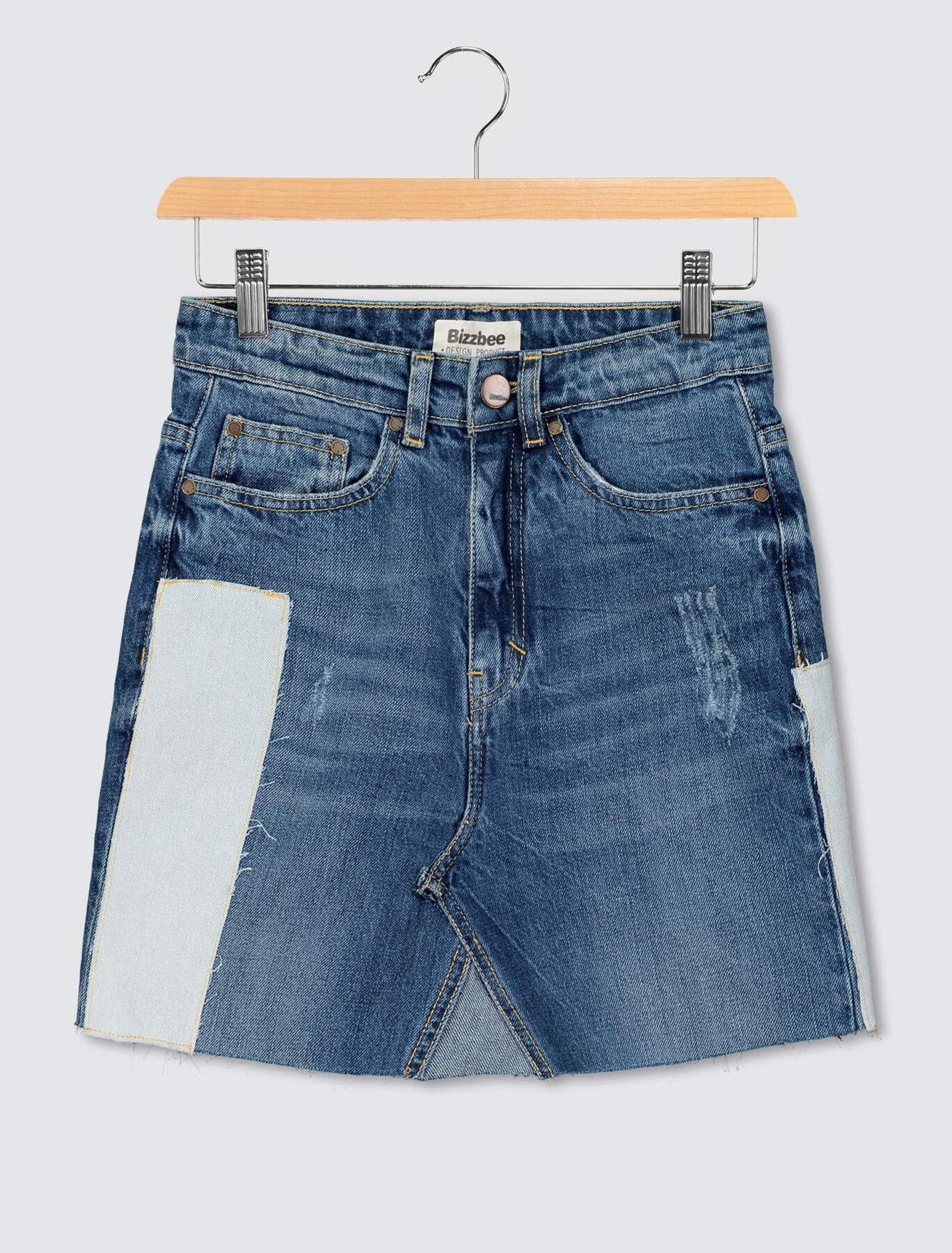 Jupe jean patch