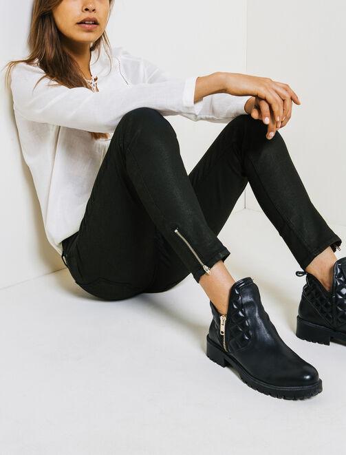 Pantalon Skinny Enduit 7/8  femme