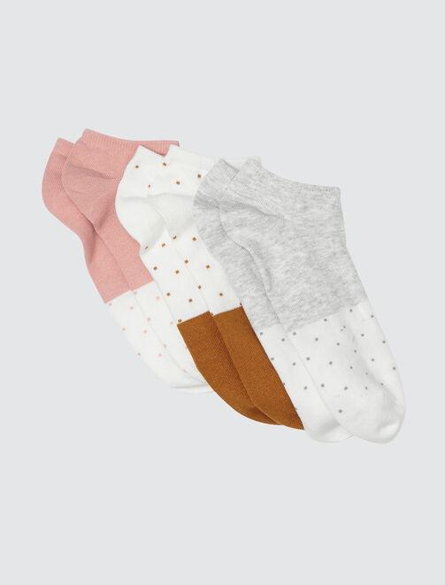 Lot de 3 Socquettes Pastel Colorblock  femme