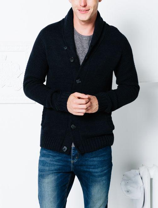 Cardigan col châle laine homme