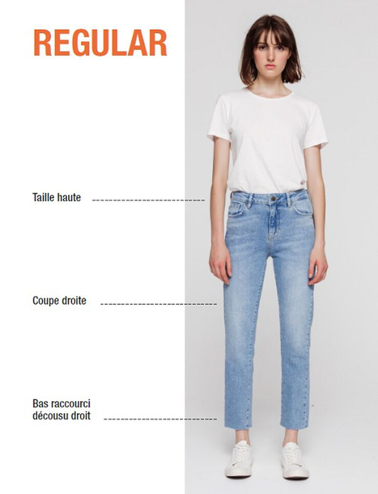 Jean cropped regular taille haute
