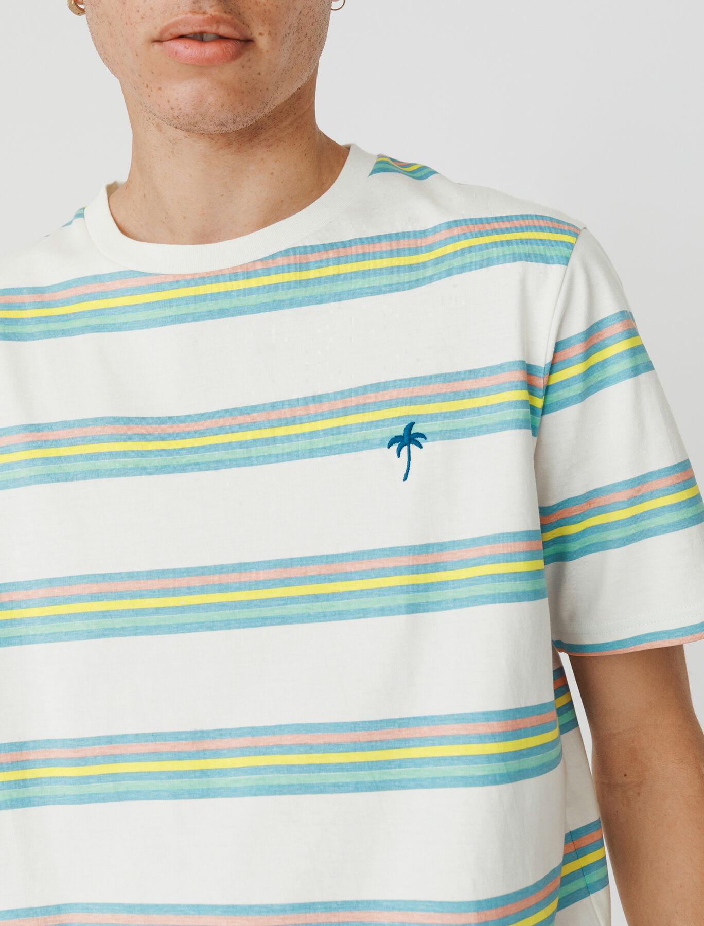 T-shirt avec broderie et rayures 90's