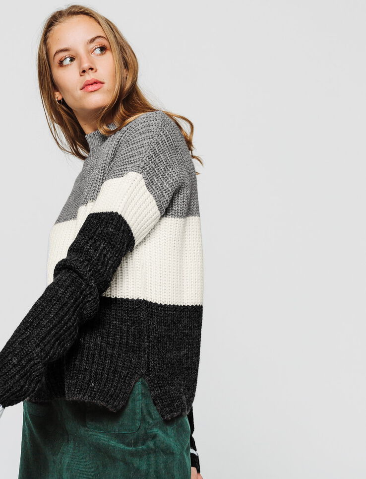 Pull colorblock col montant
