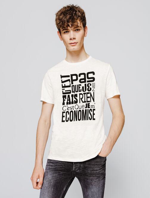"""T-Shirt message humour """"Je m'économise"""" homme"""