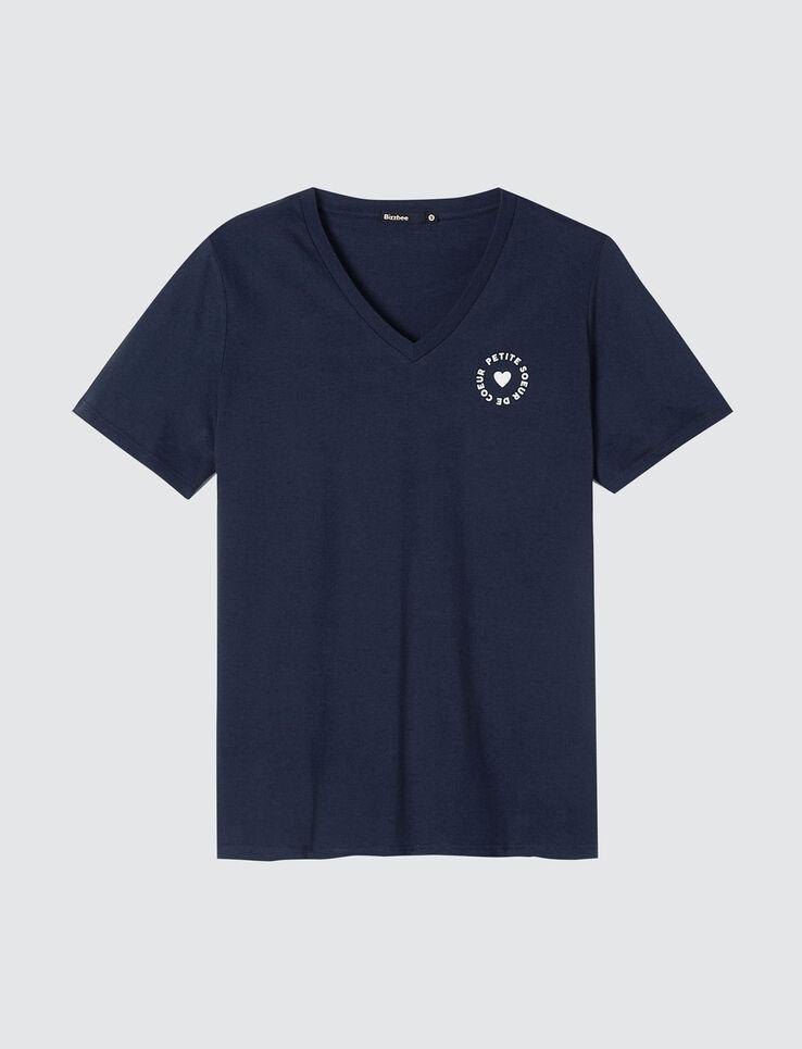 """T-shirt col V message """"petite sœur de coeur"""" & """"gr"""