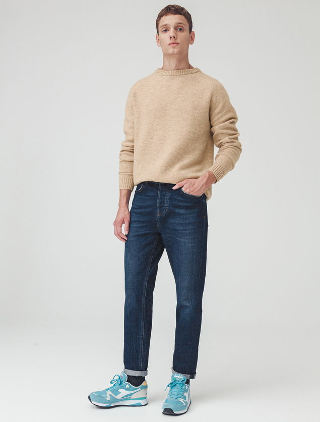 Pull laine col rond