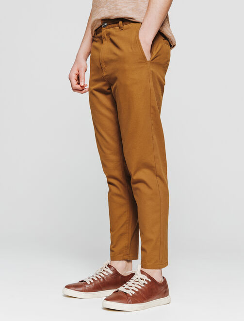 chino large tapered cropped en canvas homme
