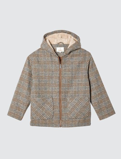 Manteau capuche à carreaux femme