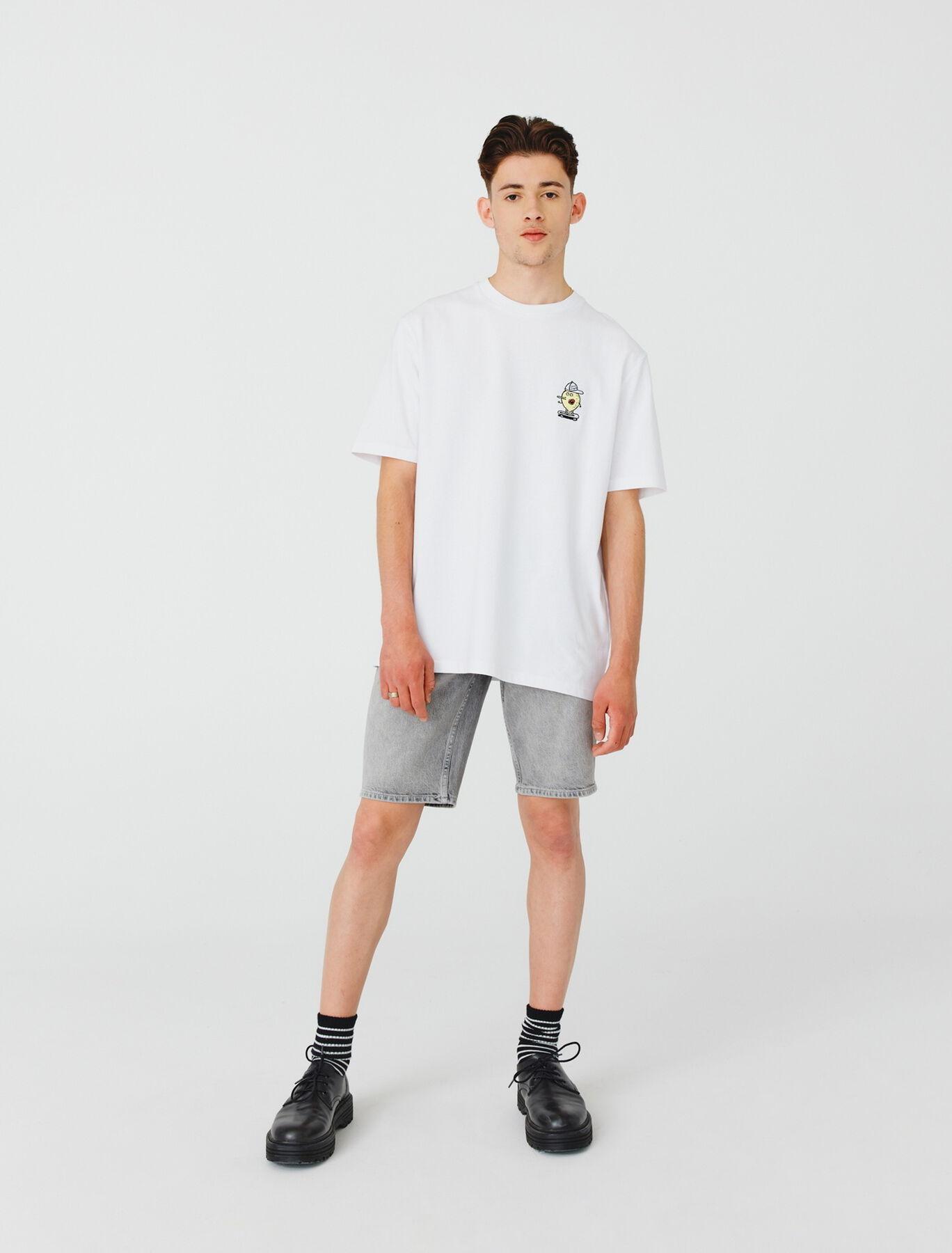T-shirt broderie poitrine en coton BIO