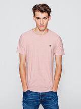 T-shirt rayé avec broderie poitrine