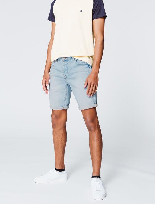 Bermuda en jean bleached homme