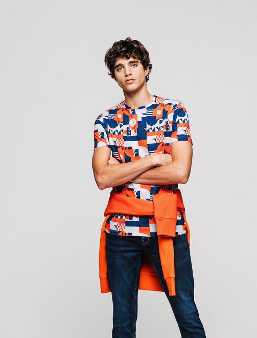 T-shirt imprimé graphique bleu et orange homme