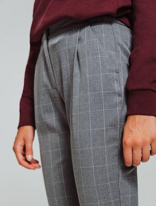 Pantalon à carreaux cropped femme