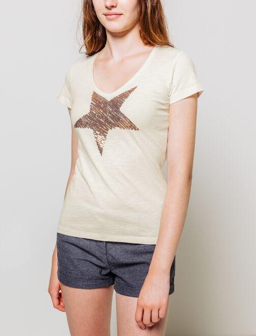 T-shirt Etoile Sequins  femme