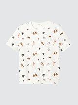 T-shirt en coton bio imprimé Noël