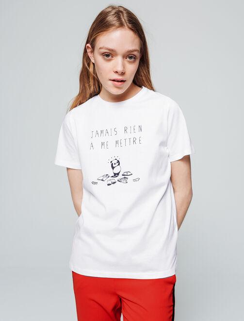 """T-shirt panda message """"Jamais rien à me mettre"""" femme"""