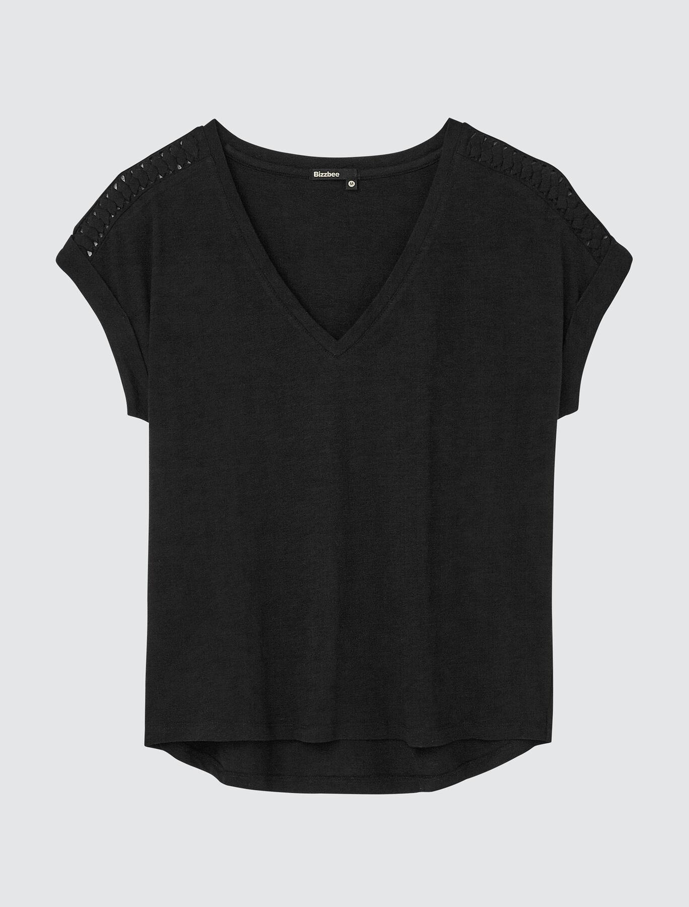 T-shirt col V fantaisie