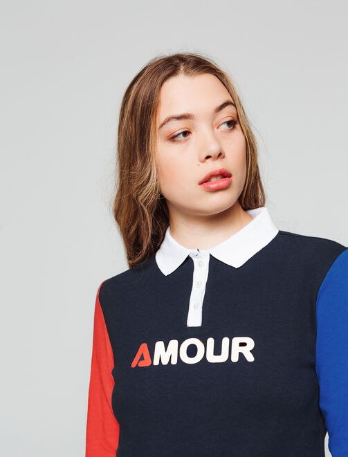 Polo manches longues colorblock femme