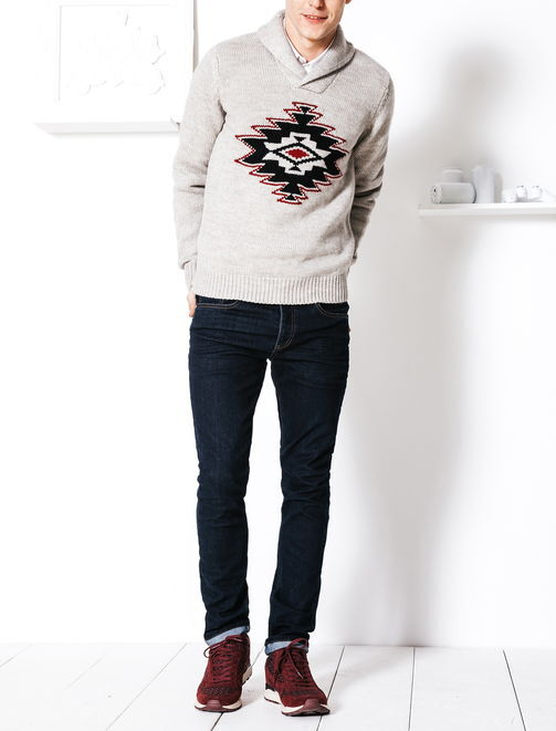 Pull intarsia tricot america native laine homme