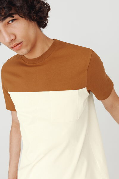 T-shirt loose colorblock avec poche