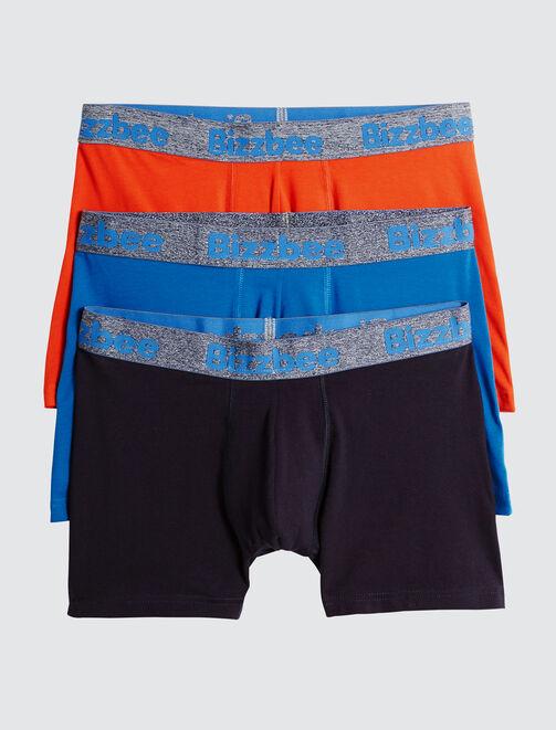 Lot de 3 Boxers Unis Bleus Orange Ceinture Fluo homme