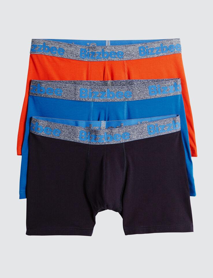 Lot de 3 Boxers Unis Bleus Orange Ceinture Fluo