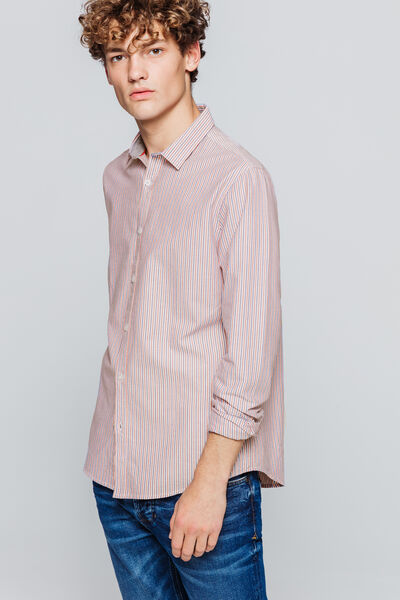 Chemise oxford à rayures tricolores