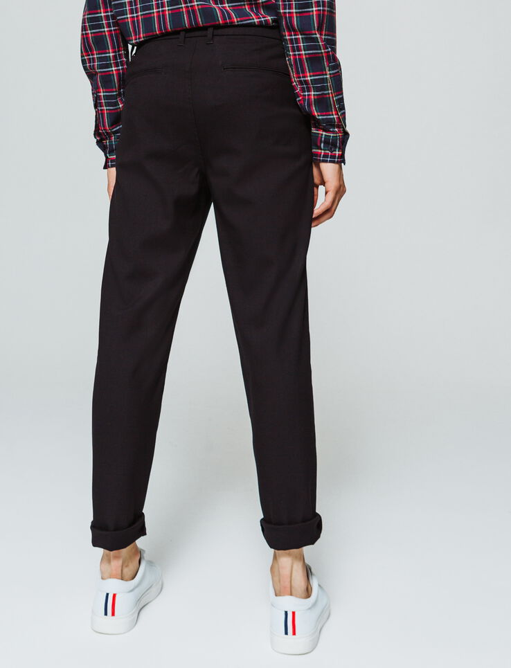 Pantalon de ville uni raccourci