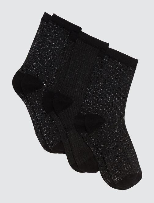 Chaussettes lurex noires femme