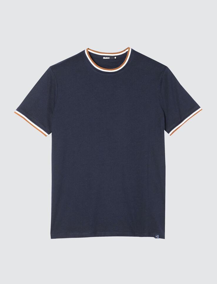 T-shirt uni bord côte fantaisie