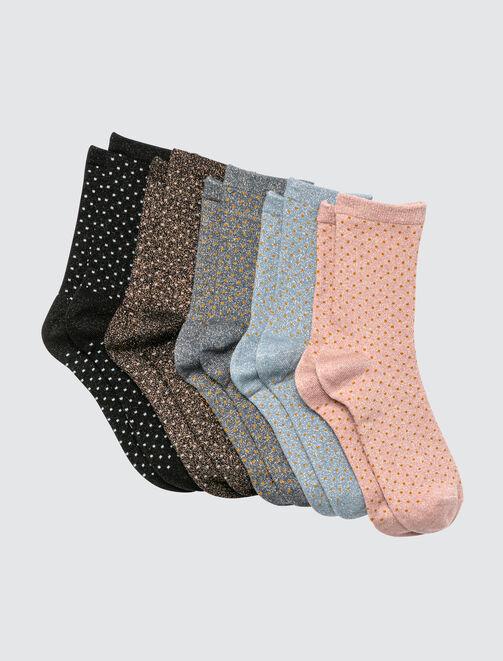 Lot de 5 Chaussettes Pois Lurex femme