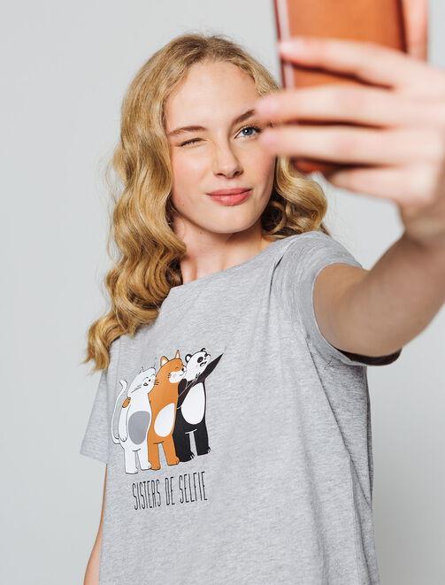 """T-shirt message """" Sisters de selfie"""" femme"""