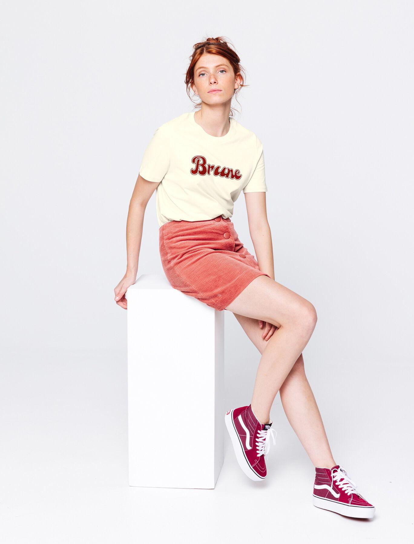 T-shirt Brune en cotonbio