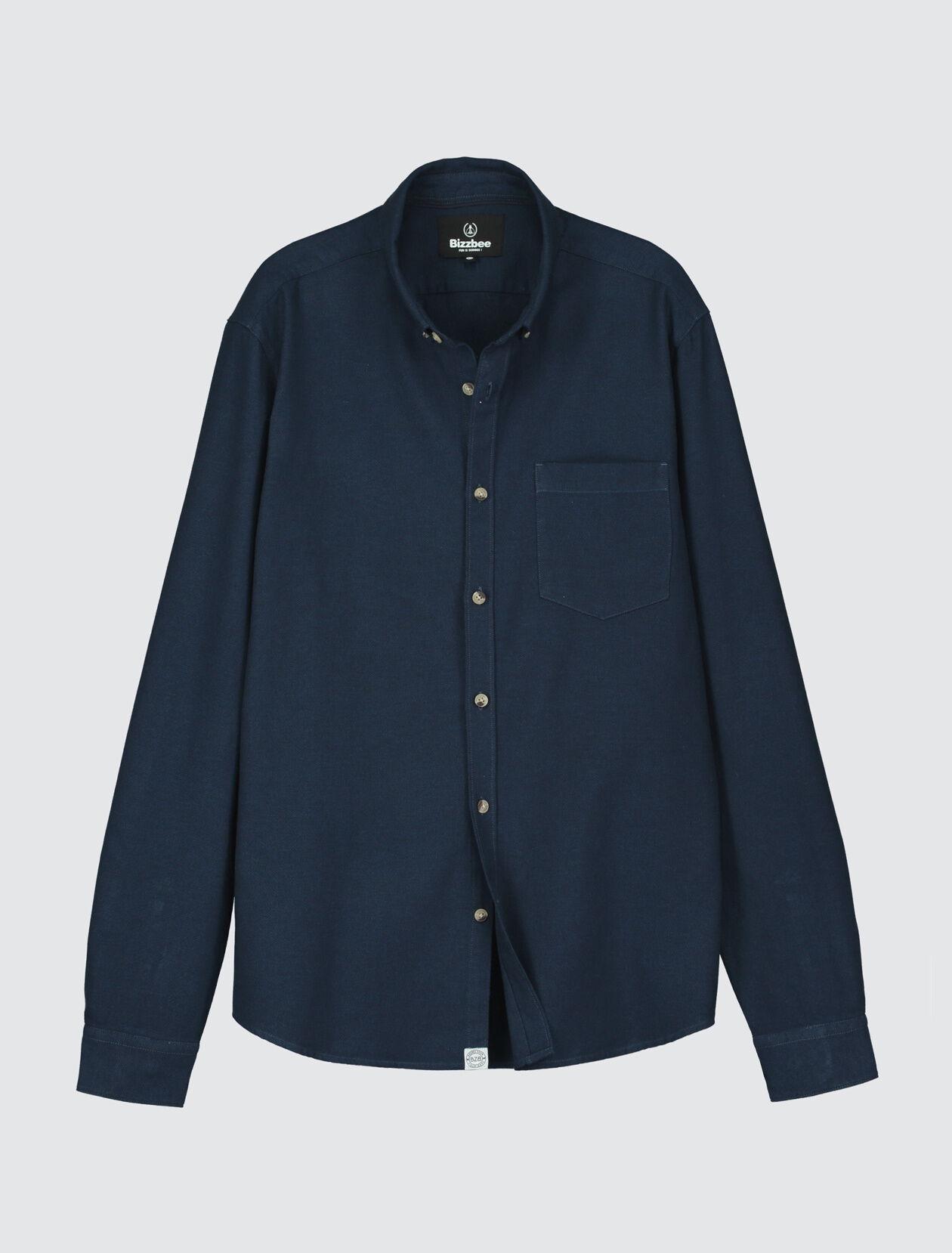 Chemise en coton piqué Homme Bleu Indigo Moyen