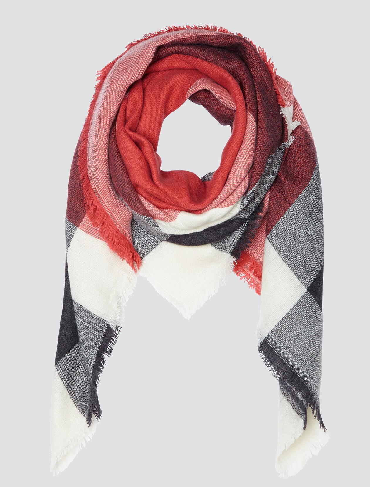 Foulard grands carreaux Femme Rose Moyen