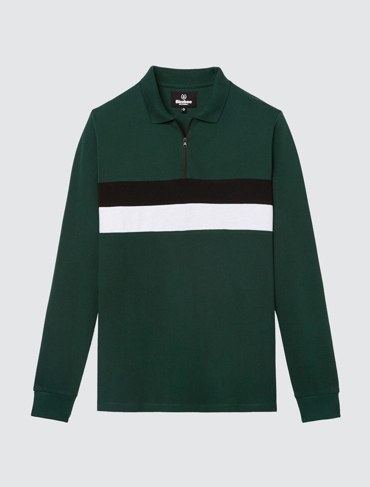 Polo zippé, deux rayures bicolores Homme Vert Bouteille