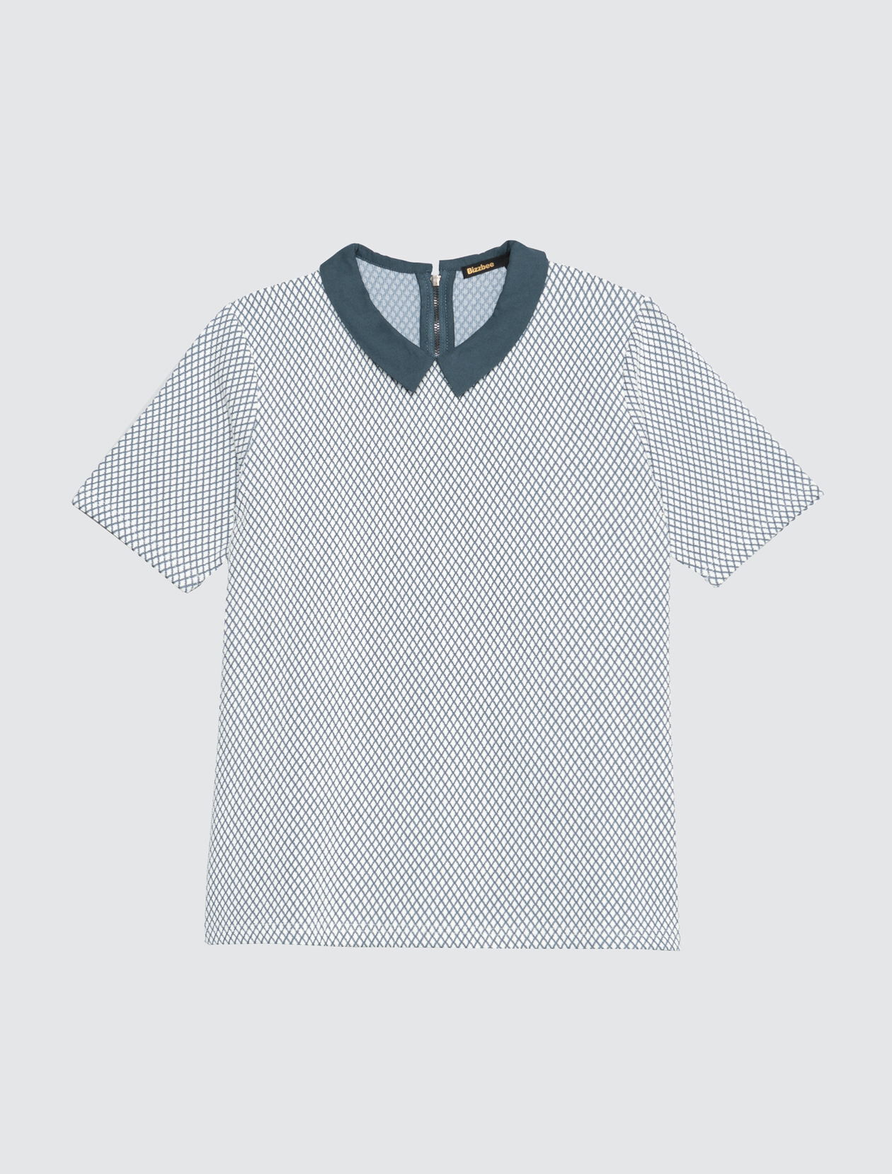 T-shirt jacquard col chemise Femme Bleu Indigo