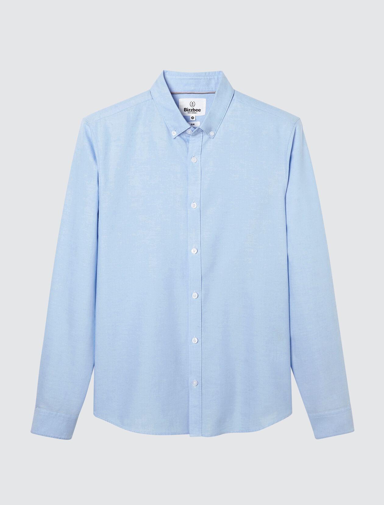 Chemise oxford basique slim Homme Bleu Ciel