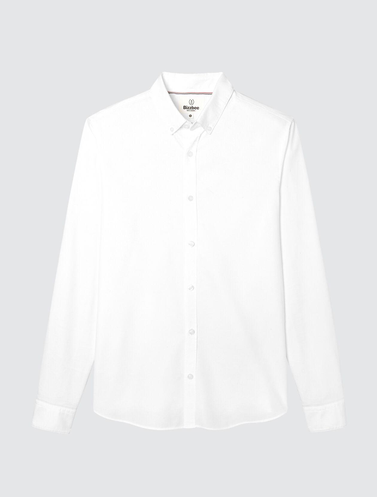 Chemise oxford basique slim Homme Blanc Casse