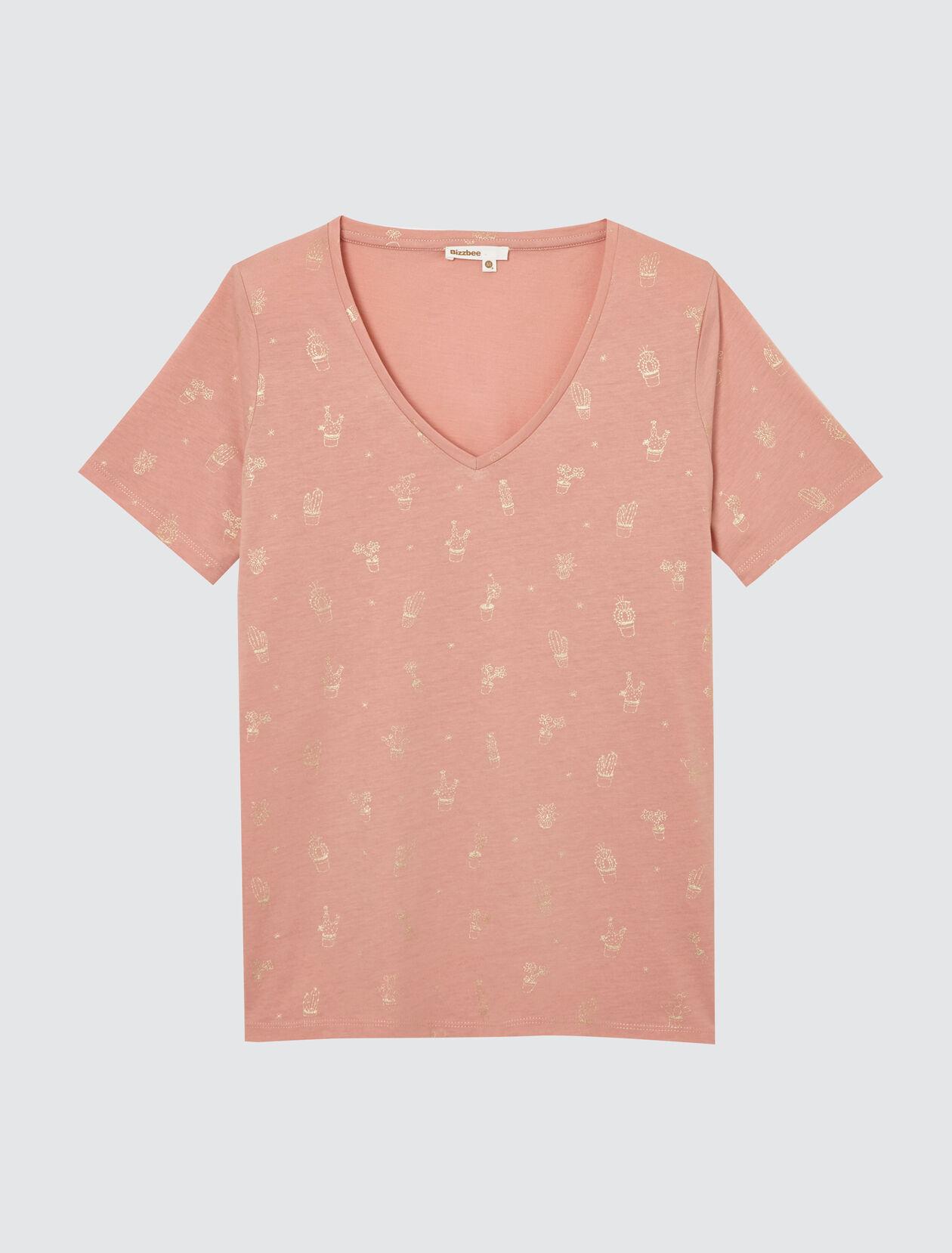 T-shirt col V imprimé Femme Rose Clair