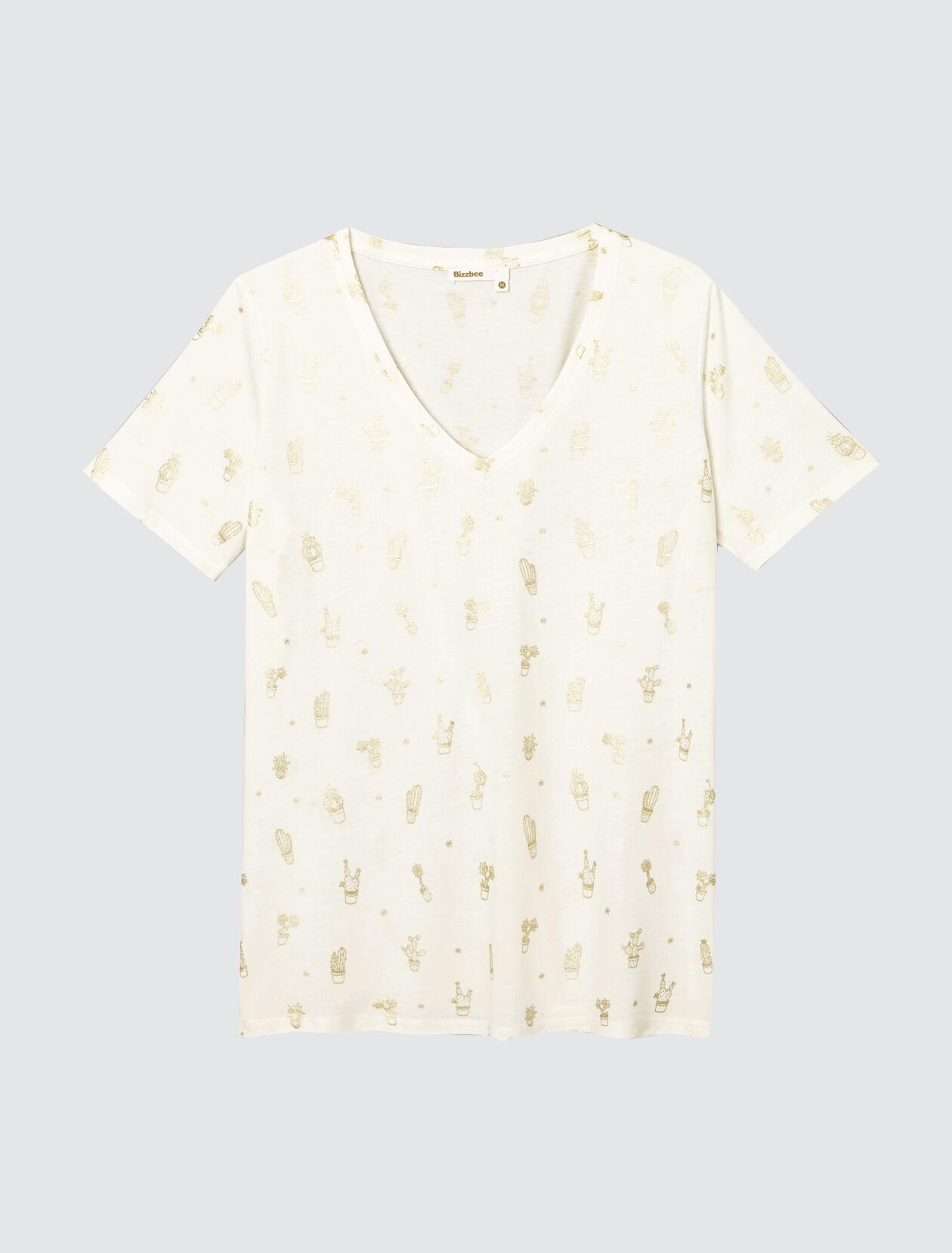 T-shirt col V imprimé Femme Ecru Clair