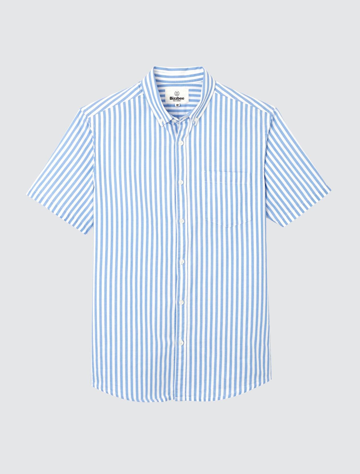 Chemise manches courtes rayée Homme Bleu Ciel