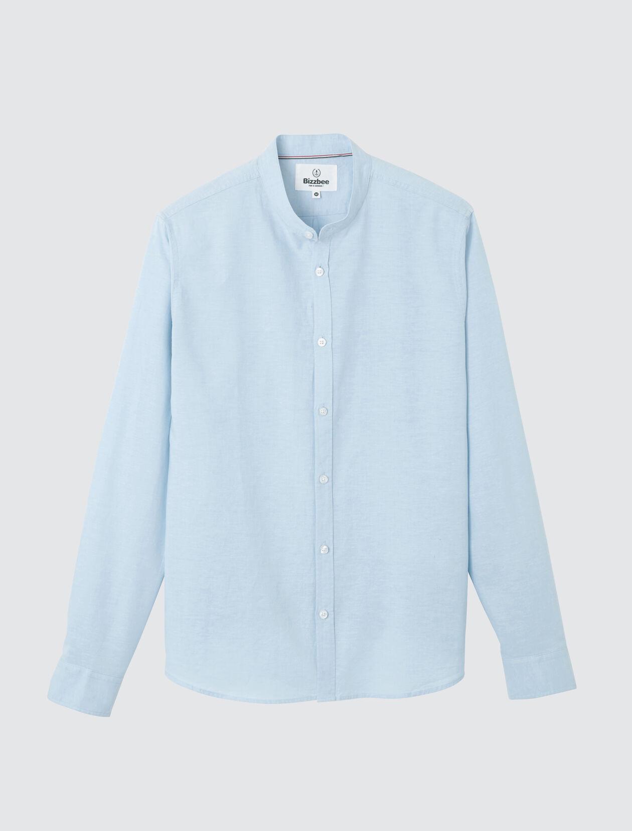 Chemise sans col unie en coton lin Homme Bleu Ciel