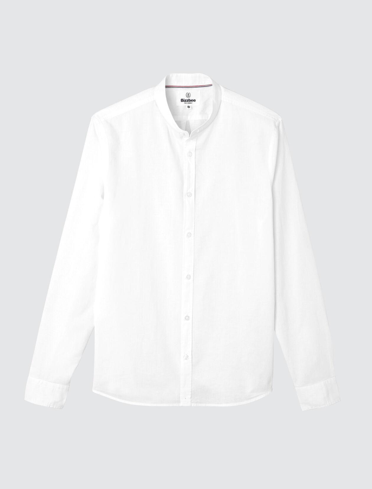 Chemise sans col unie en coton lin Homme Blanc