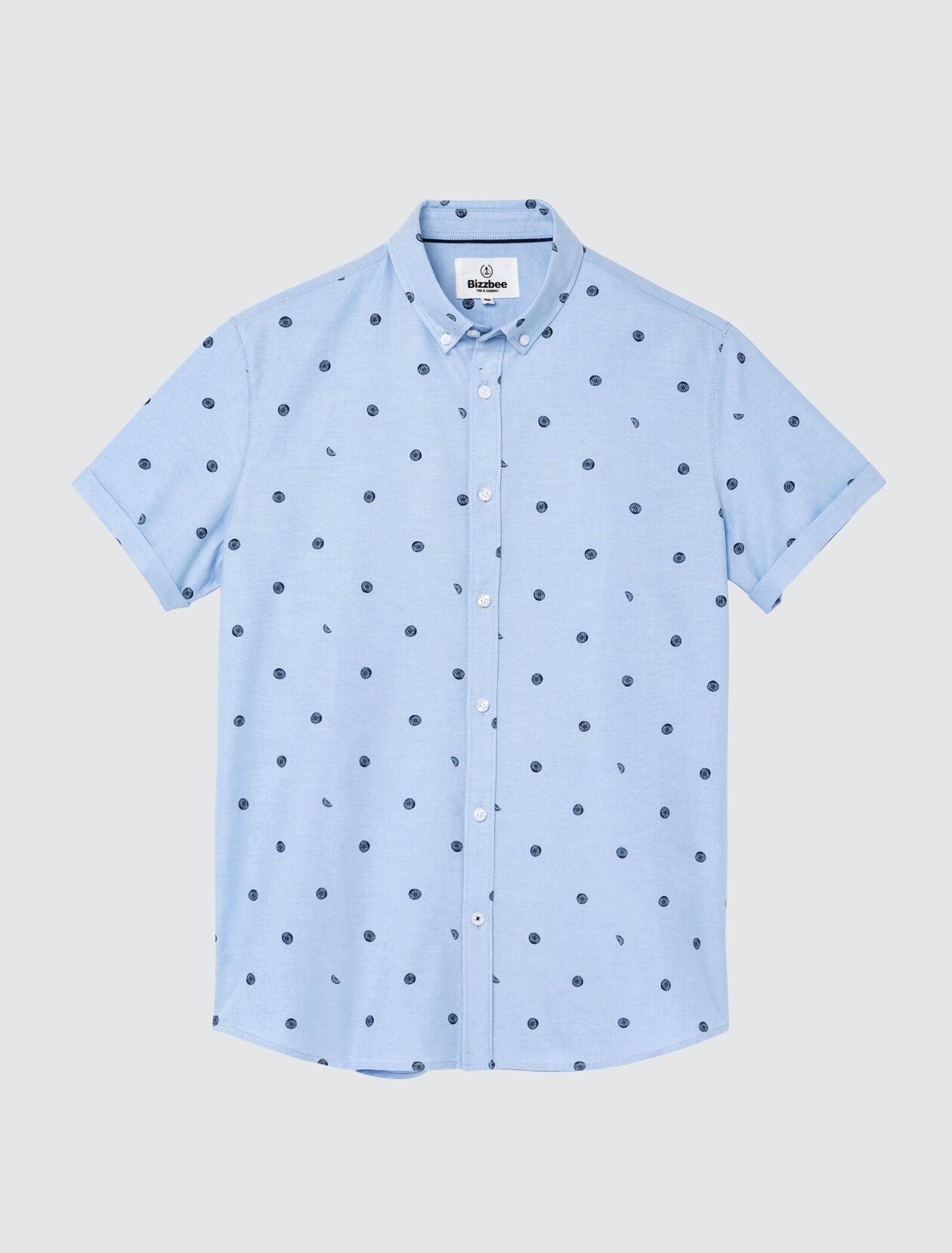 Chemise manches courtes imprimée citrons Homme Bleu Ciel