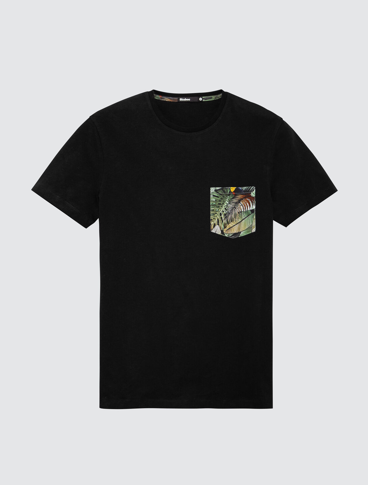 T-shirt uni poche printée Homme Noir